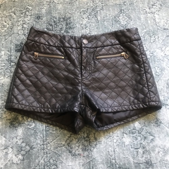 TCEC Pants - TCEC Black Faux Leather Quilted Shorts